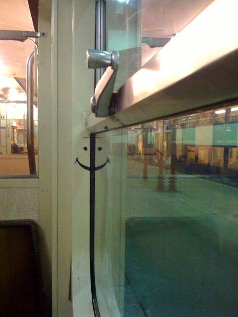 Sourire dans le train