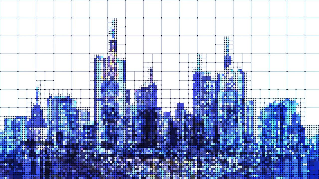 La silhouette d'une ville avec ses gratte-ciel en pixel art