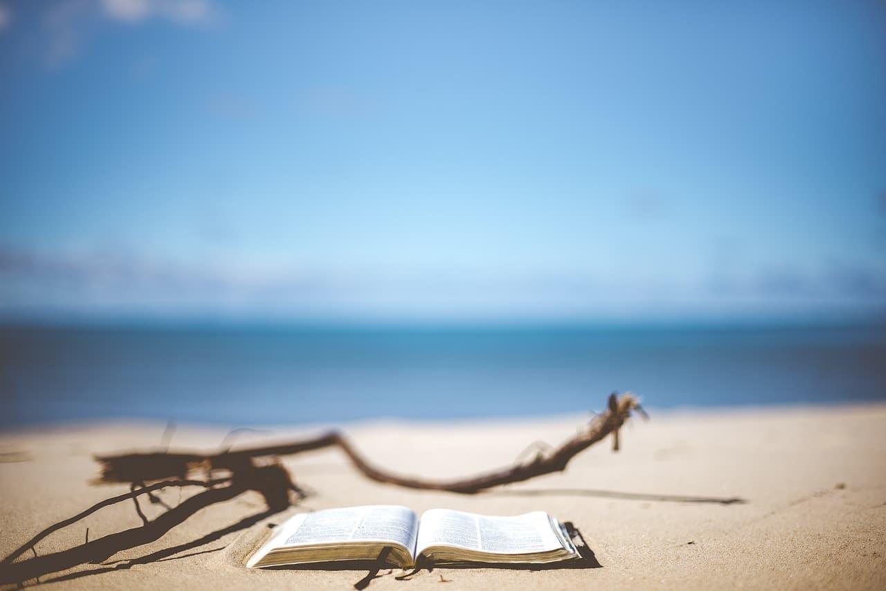 Au premier plan d'une plage floue, un livre ouvert, sur lequel est fait le point.