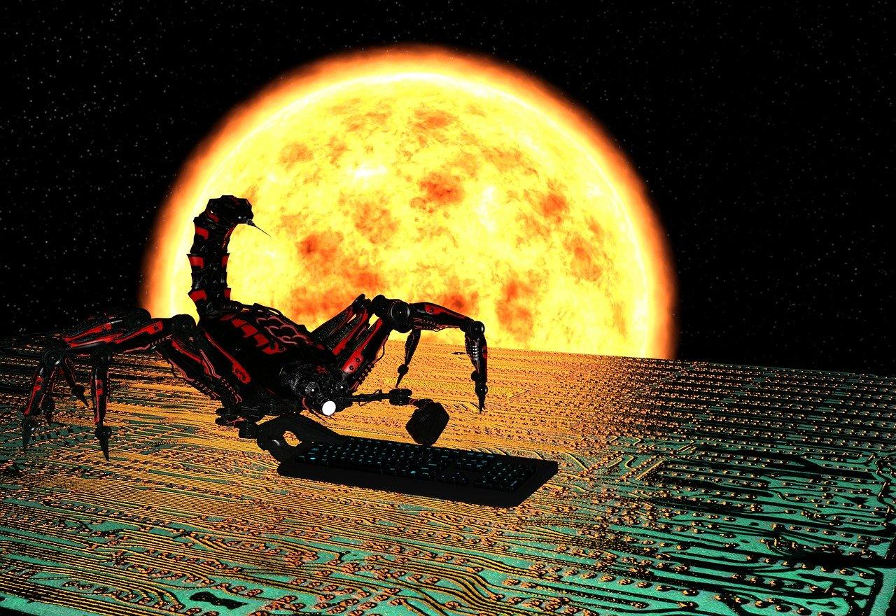 Un scorpion sur fond de soleil brulant marchant sur un écran de données. Oui, moi aussi je trouve ça bizarre.