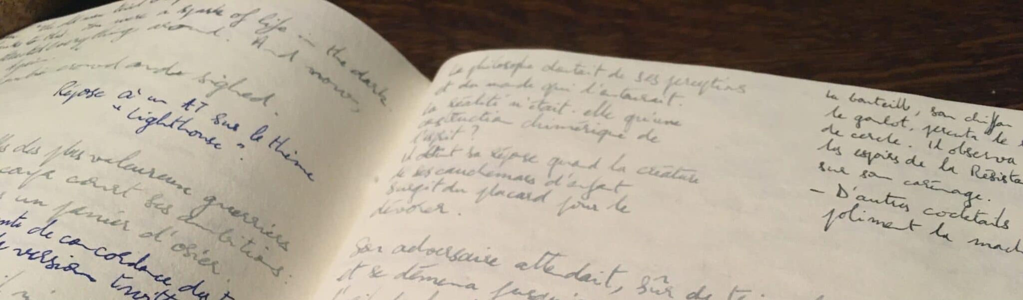 Un cahier dont les pages sont remplies d'histoires courtes et de microfictions manuscrites. Un prolongement de vie pour des exemplaires de littérature courte.